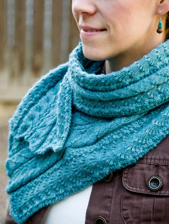 Knitting Patterns For Women s Scarf : Womens Turquoise Scarf Knitting Pattern Fancy Mae by Woolibear