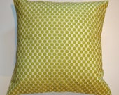 "Throw Pillow Cover, Accent Pillow Cover, Decorative Cushion Cover, Lime Green Polka Dot Pillow Cover, Amy Butler Fabric, 16x16"" Square"