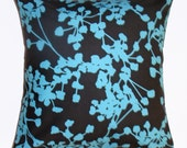 """Throw Pillow Cover, Accent Pillow, Decorative Cushion, Graphic Floral Turquoise Blue & Black Pillow Cover, Amy Butler Fabric, 16x16"""" Square"""