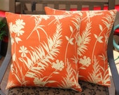 Throw Pillow removable cover 16x16 Set of 2 sewn with Better Homes and Garden's Ardiana Coral  Indoor-Outdoor Fabric