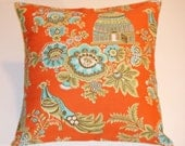 "Throw Pillow Cover,Toss Pillow, Accent Pillow, Cushion Cover, Orange Floral Pillow, Peacock Pillow Cover, Amy Butler Fabric, 16x16"" Square"
