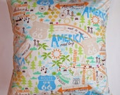 """Throw Pillow Cover - 16x16"""" - Timeless Treasures Scenes of America in Multi-Color -  Whimsical Americana Map - LAST ONE Discontinued Fabric"""