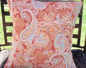 Throw Pillow 16X16 Removable cover sewn with Solarium's Merona Persimmon Indoor/Outdoor fabric - LAST ONE Discontinued Fabric