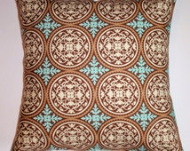 """Throw Pillow Cover, Accent Pillow, Decorative Cushion Cover, Elegant Pillow Cover, Caramel Brown Pillow, Joel Dewberry Fabric, 16x16"""" Square"""