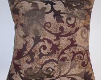 """Throw Pillow Cover,Toss Pillow, Accent Pillow, Decorative Cushion, Pillowcase, Brown Curling Branches Tapestry Pillow Cover, 16x16"""" Square"""
