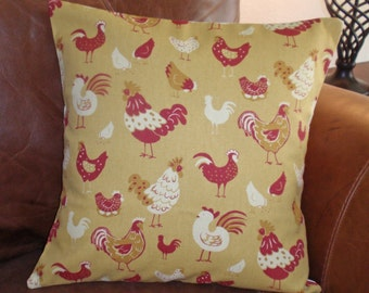 """Throw Pillow Cover, Whimsical Chickens Pillow Cover, Accent Pillow, Toss Pillow, Rustic Charm Yellow Pillow, Waverly Fabric, 16x16"""" Square"""