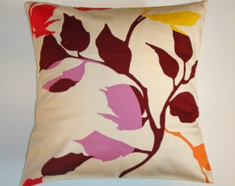 "Throw Pillow Cover, Accent Pillow Covers, Cushion Cover, Multicolor Leafy Floral Pillow Cover, Anna Maria Horner Fabric, 16x16"" Square"