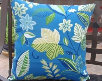 "Throw Pillow Cover, Handmade Outdoor Pillow Cover, Caribbean Blue Floral Pillow Cover, Decorative Pillow Cover, Solarium Fabric, 16x16"""