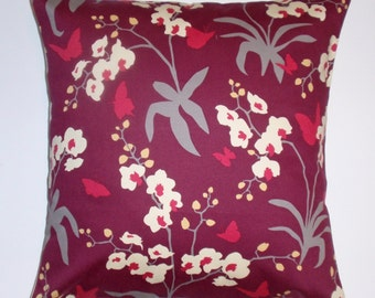 SUMMER SALE - Throw Pillow Cover, Handmade Burgundy Accent Pillow Cover, Mulberry Orchid Cushion Cover, Decorative Floral Butterfly Pillow