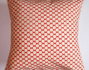 "Throw Pillow Cover, Cherry Red Polka Dot Pillow Cover, Handmade Decorative Polka Dot Cushion Cover, Amy Butler Fabric, 16x16"" - LAST ONE"
