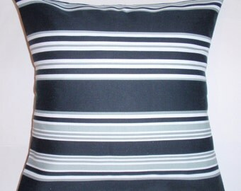 """Throw Pillow Cover, Accent Pillow Cover, Decorative Cushion Cover, Modern Stripe In Black & White Pillow Cover, Waverly Fabric, 18x18"""""""