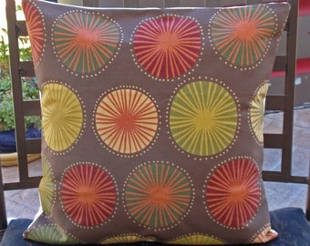 """Throw Pillow Cover, Outdoor Pillow, Accent Pillow, Decorative Chocolate Cushion Cover, Brown Modern Floral Outdoor Pillow, 16x16"""" Square"""
