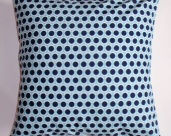 "Throw Pillow Cover, Navy Light Blue & White Polka Dot Pillow Cover, Handmade Decorative Cushion Cover, Joel Dewberry Fabric, 16x16"" Square"