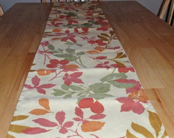 Handmade Table Runner - Wind Leaves in Autumn by Waverly with a Solid Ivory Back - Reversible RUNNER - Floral Leaf Table Runner - 72x12.5""