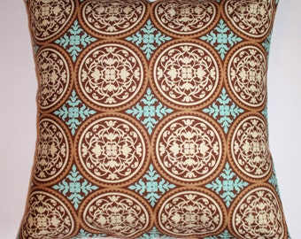 """Throw Pillow Cover, Elegant Tile in Caramel Brown Pillow Cover, Handmade Accent Pillow Cover, Decorative Ornate Cushion Cover, 16x16"""" Square"""