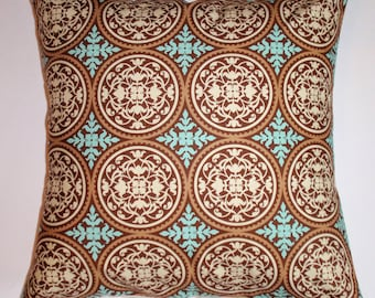 """Throw Pillow Cover, Elegant Graphic Tile in Caramel Brown Throw Pillow Cover, Handmade Decorative Ornate Cushion Cover, 16x16"""" - LAST ONE"""