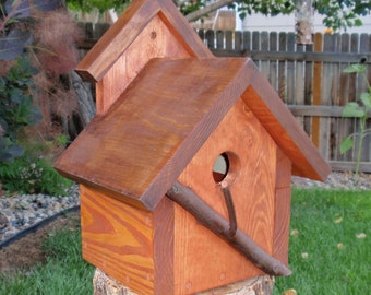 Bird House - A Persnickety Rustic Bird house in Reclaimed Wood and Branches