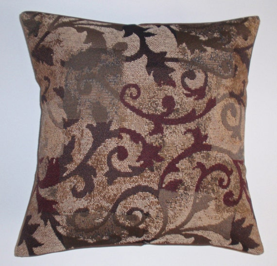 "Throw Pillow Cover,Toss Pillow, Accent Pillow, Decorative Cushion, Pillowcase, Brown Curling Branches Tapestry Pillow Cover, 16x16"" Square"