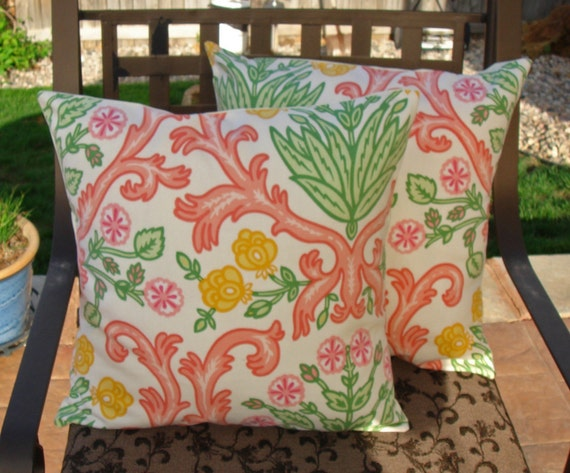 """Throw Pillow Covers - 16x16"""" Set of 2 sewn in Spring Floral fabric - Indoor/Outdoor - Weather Resistant - Floral Throw Pillow Covers"""