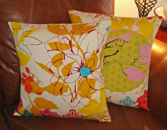 Throw Pillow With Removable Cover : Throw Pillow removable cover 16x16 Set of 2 sewn with Anna