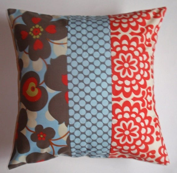 Throw Pillow With Removable Cover : Throw Pillow 16X16 Removable Patchwork cover by PersnicketyHome