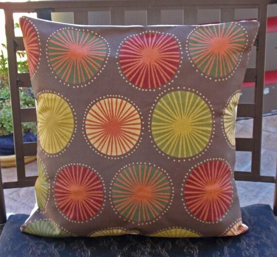 "Throw Pillow Cover - 16X16"" Richloom's Beringer in Chocolate - Outdoor Pillow, Toss Pillow, Accent Pillow, Decorative Cushion, Pillowcase"