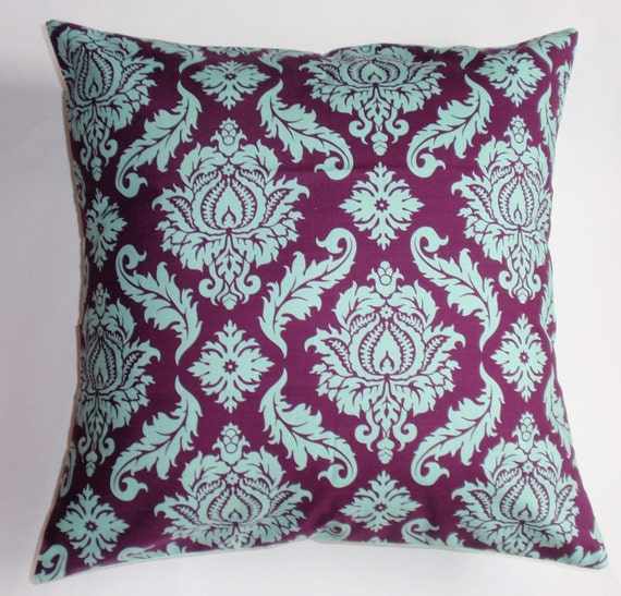 """Throw Pillow Cover, Toss Pillow, Accent Pillow, Decorative Cushion Cover, Plum Purple Damask Pillow, Joel Dewberry Fabric, 16x16"""" Square"""
