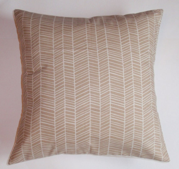 """Throw Pillow Cover - 16X16"""" sewn with Joel Dewberry's Herringbone in Maple from the Modern Meadow Collection - Modern Graphic Pillow Cover"""