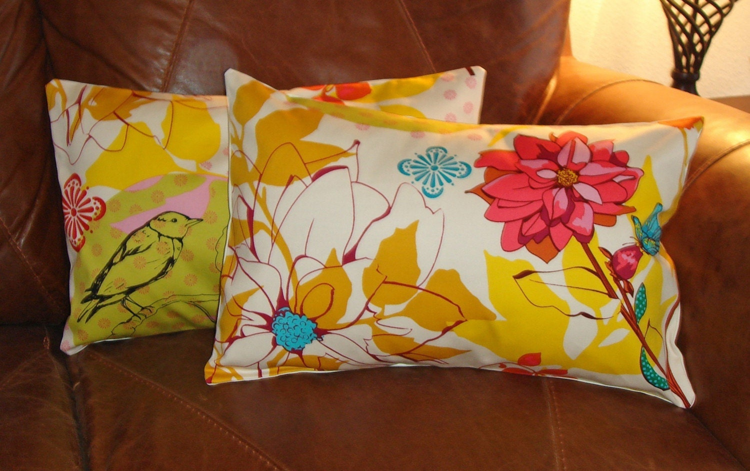 Throw Pillow removable cover 12x18 Set of 2 sewn with Anna