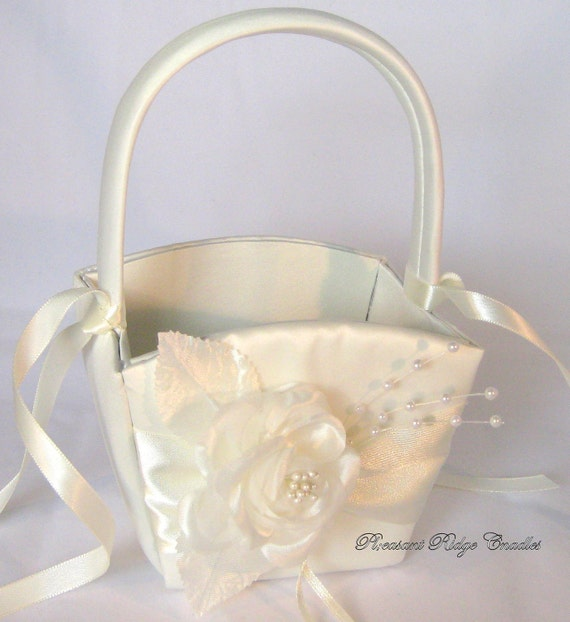 Flower Girl Baskets Ivory Uk : Ivory flower girl basket cheap by