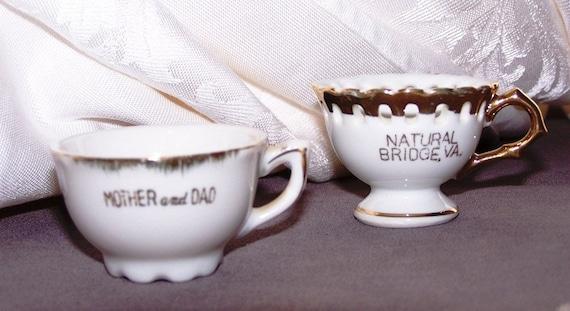 Vintage Miniature Porcelain Teacups Souvenirs with Gold Accents - Teacups for Dolls