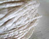 Pure Silk Snow Bulky hand spun yarn texture coil corespun  wedding 90 yards