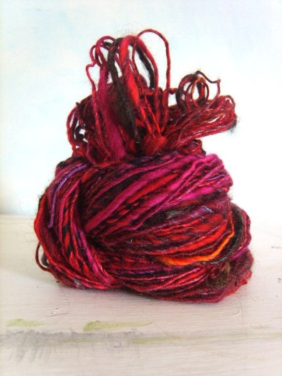 glorious pinks, silk mix, handspun yarn, 90yrds
