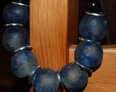 Beautiful Blue Recycled Glass Beads Necklace