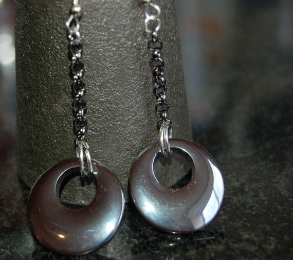 Hematite Flying Saucer Earrings