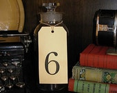 Gift Tags / Numbers 4 5 6 coffee stained hand stamped