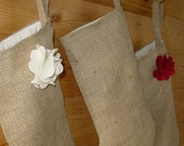 Custom Order for Amber  /  Burlap Christmas Stocking