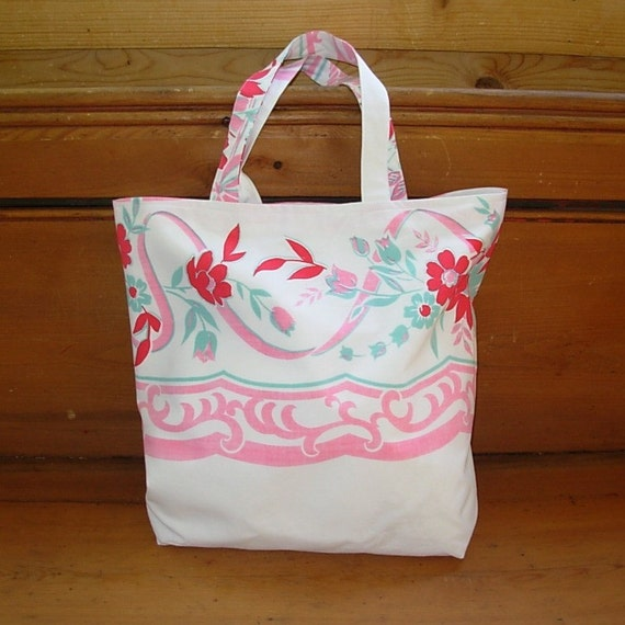 Tote Bag / Repurposed Vintage Table Cloth / Blue, Pink and Red Flowers