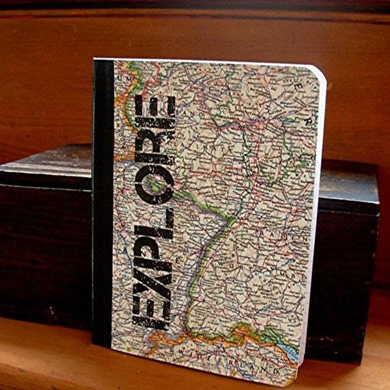 Explore Vintage Map Compostion Journal Notebook