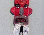 TIN FOLK Found Object Portraits-Red Face Guy