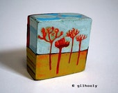 Trees Painted Two Sided Art Object Block