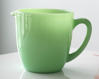 Fire King Jadite Jadeite Milk Pitcher, Breakfast Line