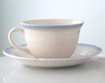 Anchor Hocking Vitrock Blue Alice Cup and Saucer