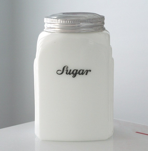FREE SHIPPING - McKee Milk Glass Roman Arch Sugar Canister with Lid
