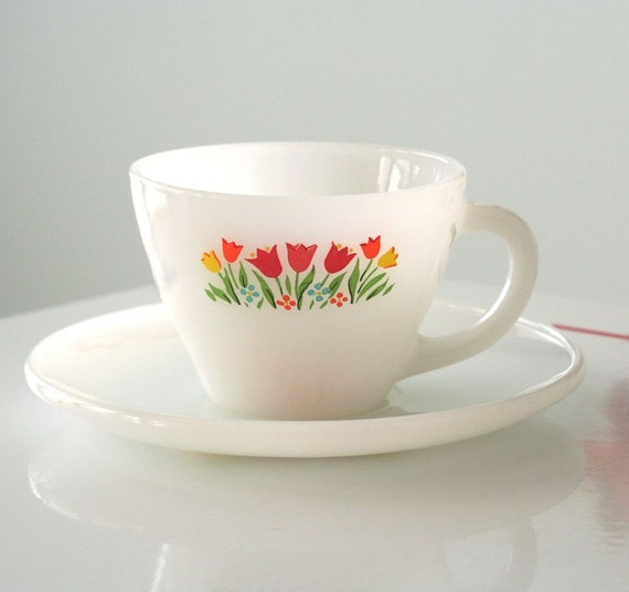 SALE - Anchor Hocking Fire King Tulip Milk Glass Cup and Saucer