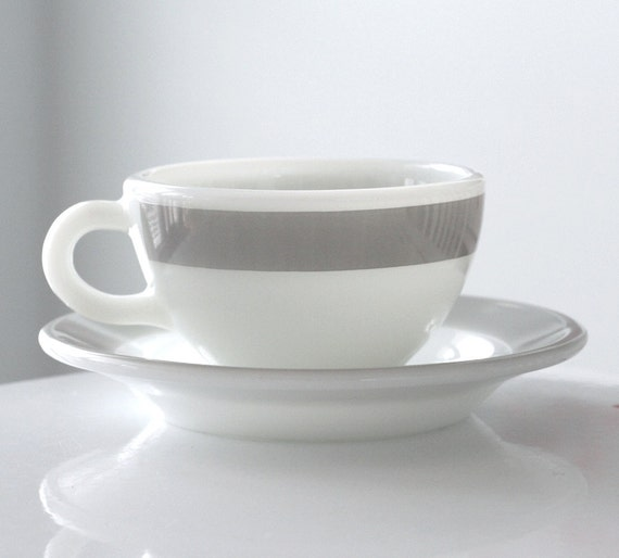 Corning Milk Glass and Gray Stripe Cup and Saucer
