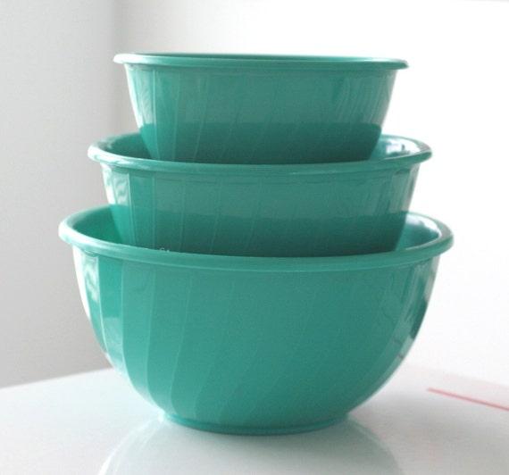 Teal Set of 3 Shamrock Neatway Nesting Bowls