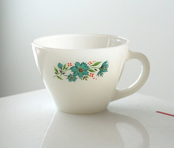 Fire King Milk Glass Premium Cup with Blue Corn Flowers