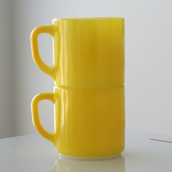 2 Yellow Fired-On Federal Mugs - Good Condition