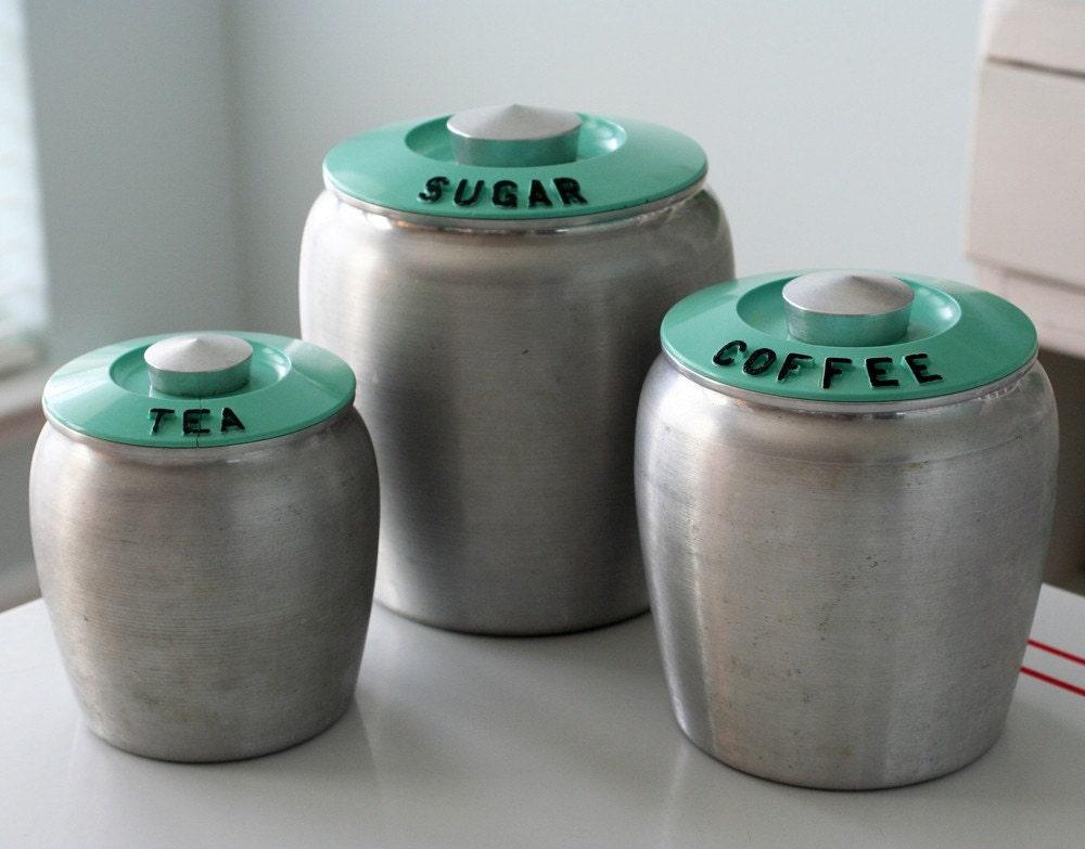 vintage kromex turquoise coffee tea and sugar canisters